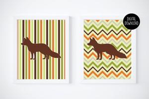 fox fall chevron printables digital download // 8x10 // printable wall decor