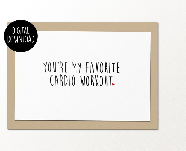 You're my favorite cardio workout printable greeting card