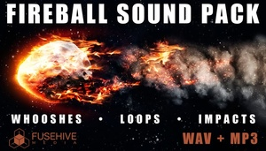 FIREBALL - Fire Whoosh, Beam Loop, Impact / Hit Sound Effects