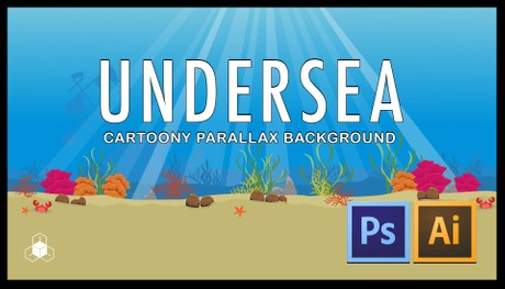 UNDER OCEAN WATER - 2D Cartoony Parallax Sea Background