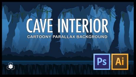 2D CAVE INTERIOR - Cartoony Parallax Background