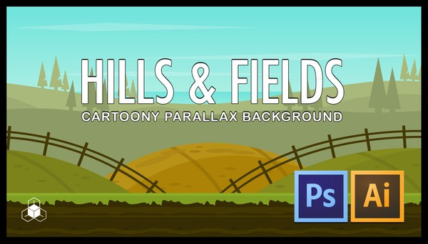 2D HILLS, FIELD - Cartoony Nature Parallax Background