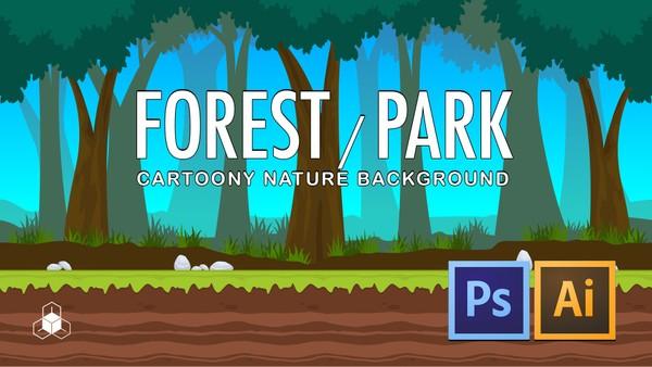 2D FOREST, PARK - Cartoony Parallax Nature Background