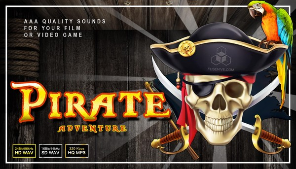 Pirate Adventure Sound Effects Library - Caribbean Gold Treasure Theme Royalty Free SFX Audio Pack