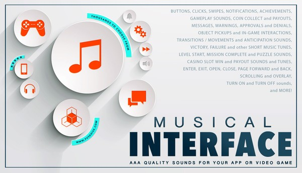 MUSICAL USER INTERFACE SOUND EFFECTS LIBRARY - Button Clicks Swipes Notifications Achievements etc.