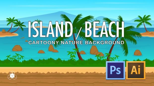 2D ISLAND, BEACH - Cartoony Parallax Nature Background
