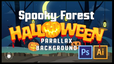 SPOOKY FOREST - 2D Cartoony Halloween Parrallax Background