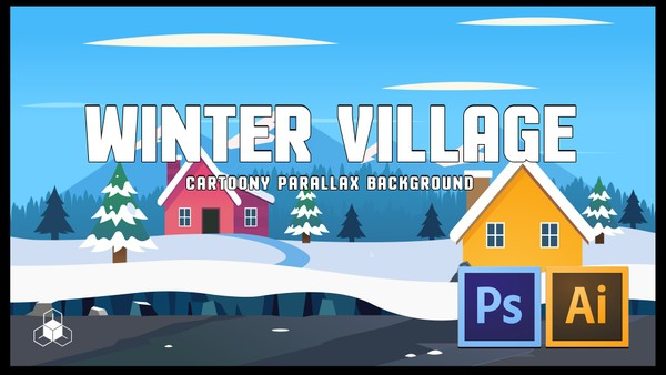 WINTER SNOW MOUNTAIN VILLAGE - 2D Cartoony Parallax Game Background