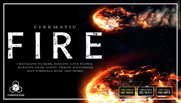 Cinematic Fire Sound Effects Library - Burning Blaze Flame Fireball Lava SFX Royalty Free Audio Pack