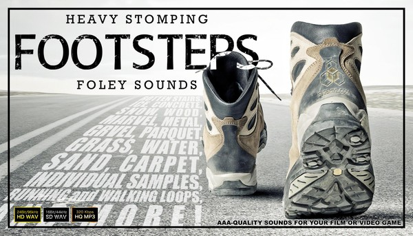 FOOTSTEPS FOLEY - Walking Running Noises on Beach Grass Gravel Snow Ice Water Sound Effects Library