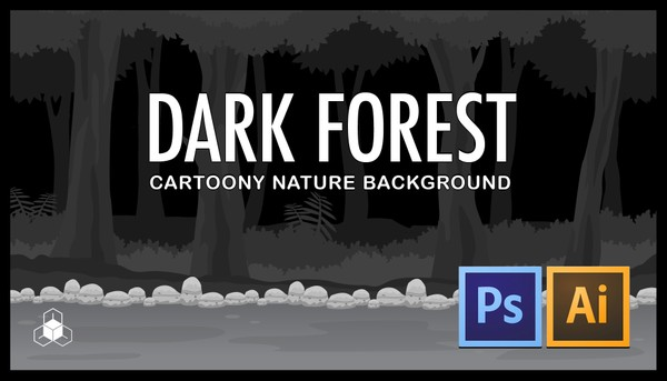 2D DARK FOREST - Cartoony Parallax Nature Background