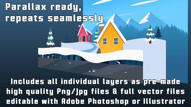 WINTER SNOW MOUNTAIN VILLAGE - 2D Cartoony Parallax Game Background