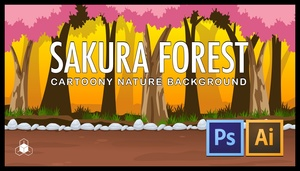 2D SAKURA FOREST - Cartoony Parallax Nature Background