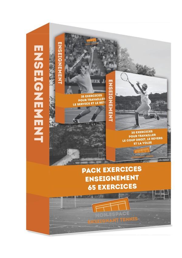PACK DE 65 EXERCICES (SERVICE, RETOUR, COUP DROIT, REVERS, VOLEE)