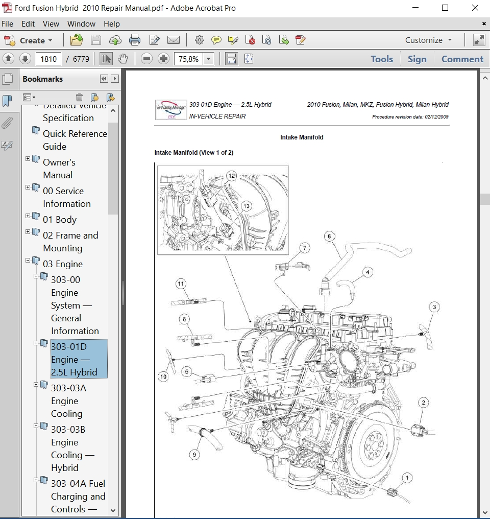 Ford Fusion Hybrid 2010 Repair Manual Autoservicerepair 2003 Ford Escape  Engine Diagram 2010 Ford Fusion Hybrid Engine Diagram