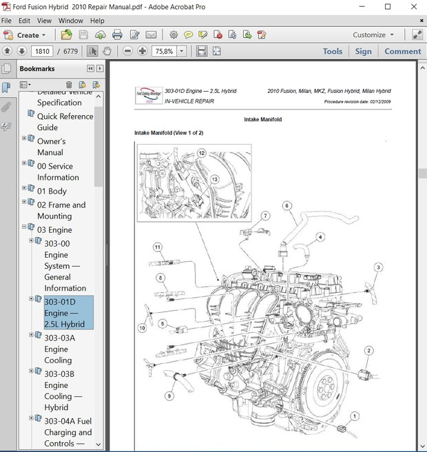 ford fusion hybrid 2010 repair manual