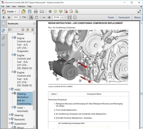 Chevrolet Corvette Z06 2017 Repair Manual