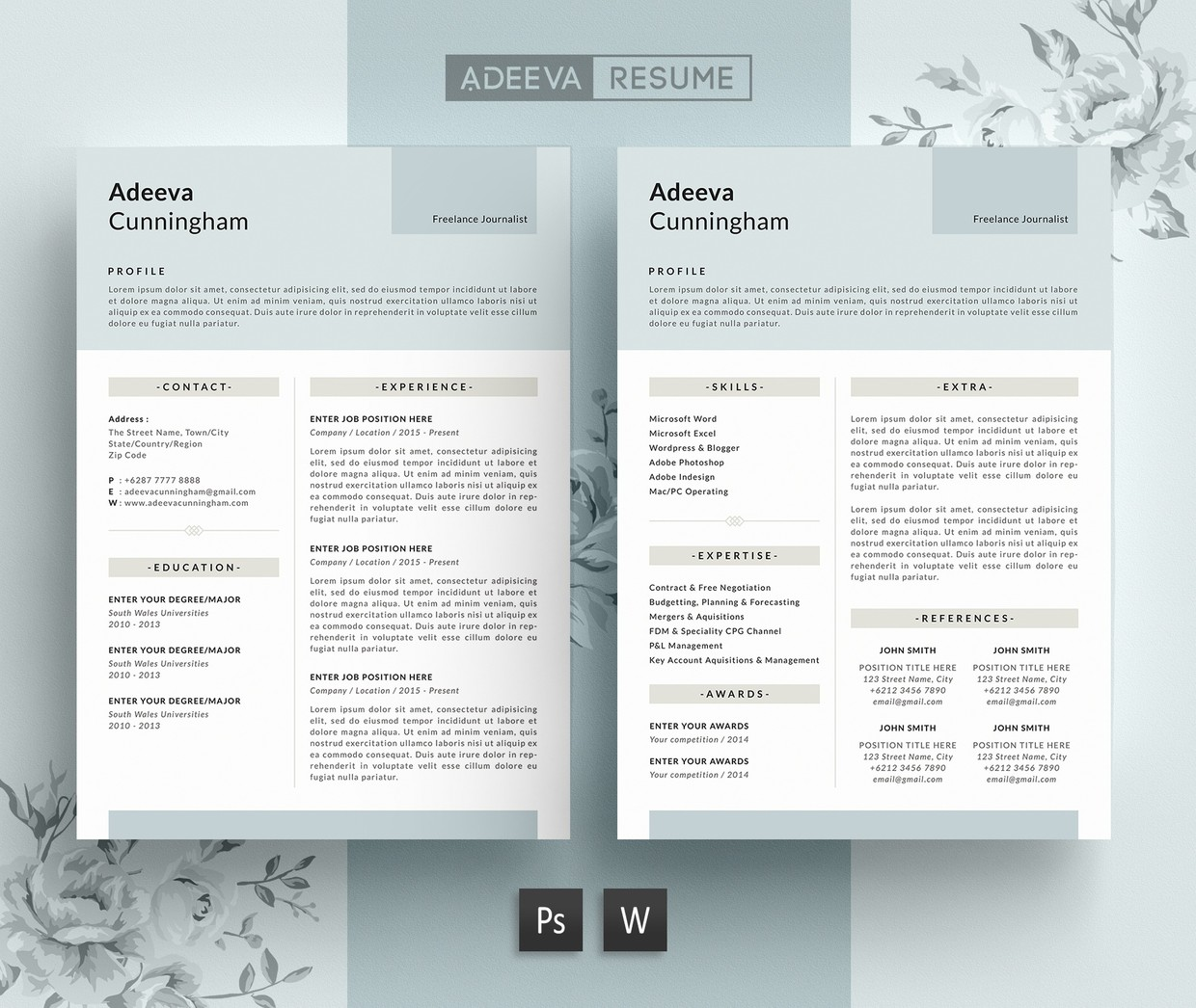 Simple Resume Template / CV Template | Adeeva Cunningham