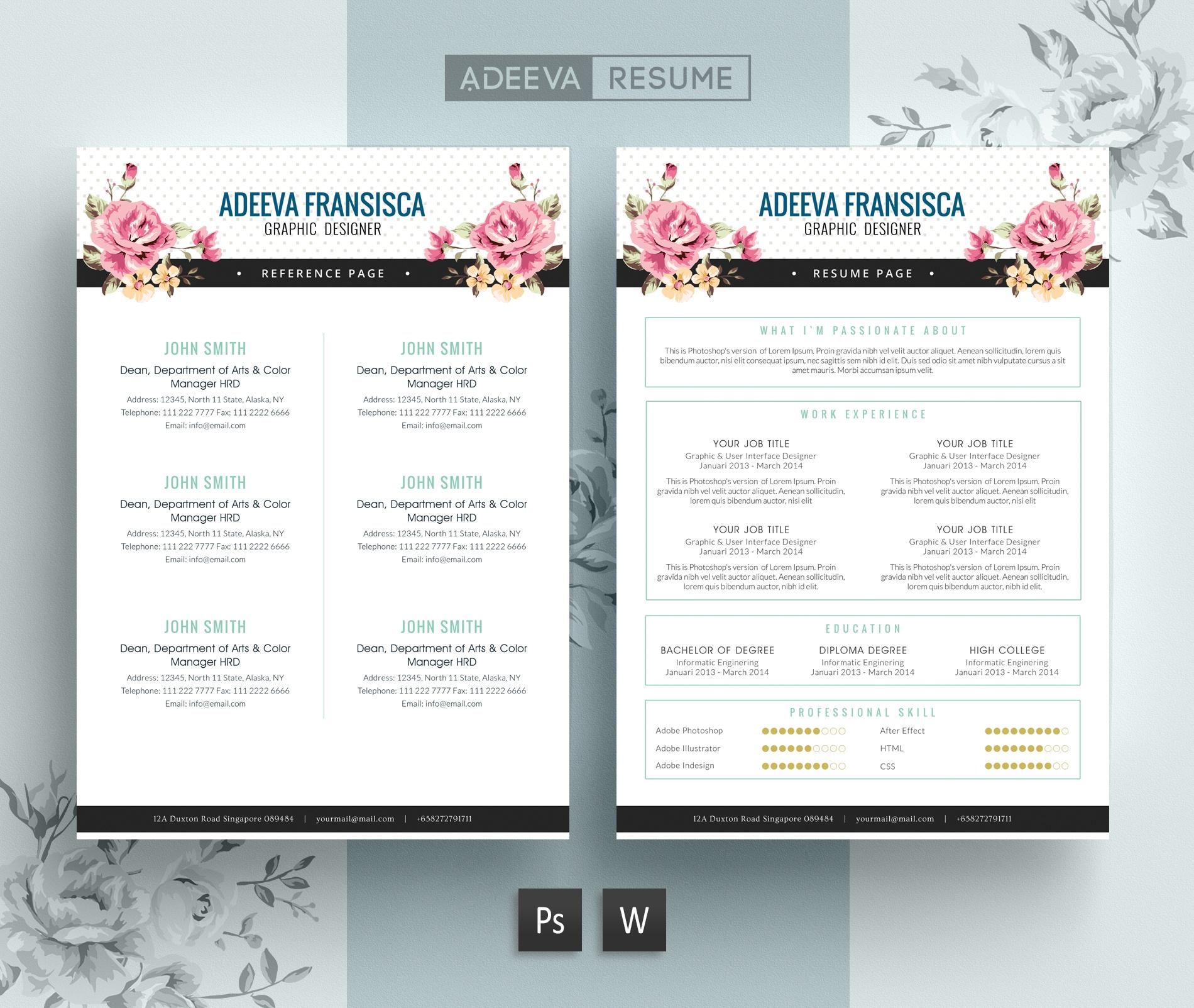 Free Vintage Resume Template / CV Template | Adeeva Fr ...