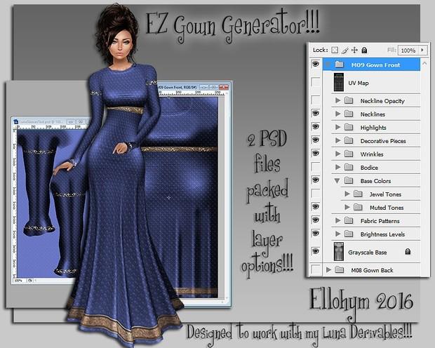 Ellohym - EZ Gown Generator - Fully Layered PSD Files