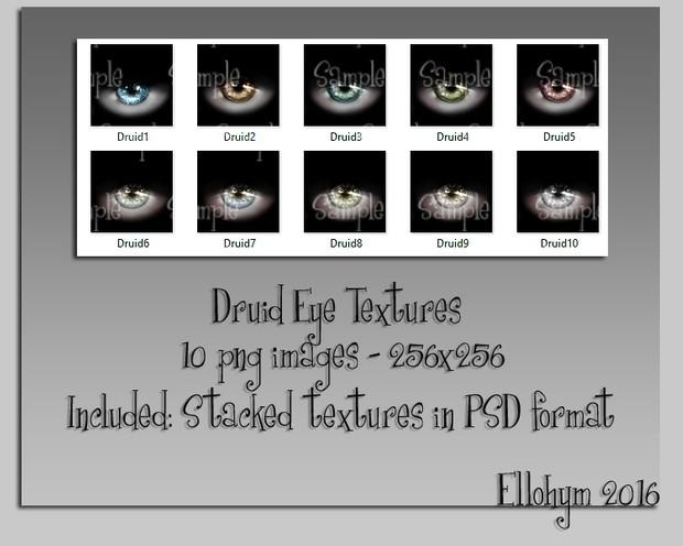 Ellohym - Druid Eye Textures - 10 High Quality .png