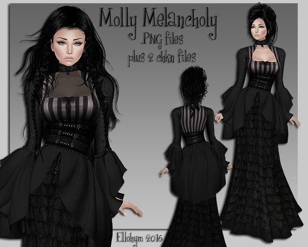 Ellohym - Molly Melancholy Gown - .PNG plus .Chkn Files