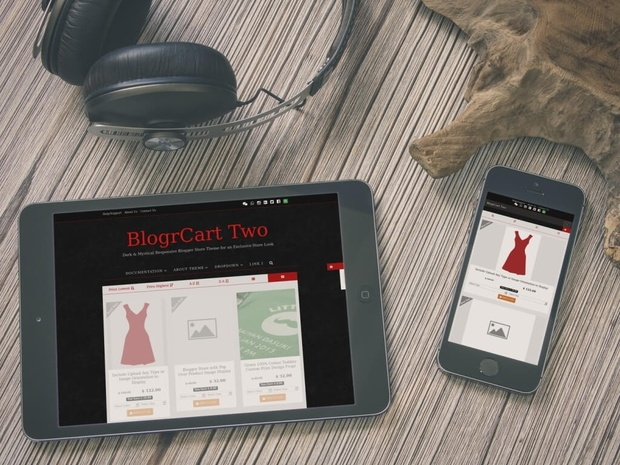 BlogrCart TWO [Dark - PRO] - Premade Responsive Online Store Catalog Blogger Template/Theme