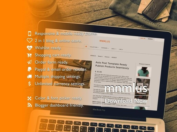 BlogrCart MNMLUS (PRO v2.0) - Premade 2 in 1 Blogger & Store Theme/Template with Wishlist Functions