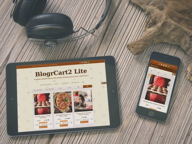 BlogrCart TWO [Lite - PRO] - Cafe Menu, Food & Cookies Inspired Blogger Store Template/Theme