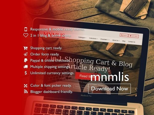 BlogrCart MNMLIS (PRO v2.0) Responsive Premade Blogger