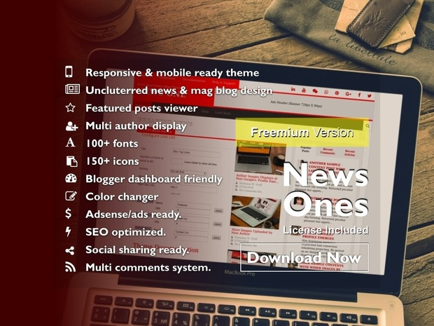 NEWS ONES - Free Blogger News & Magazine Styled Blogspot Blogger Template/Theme