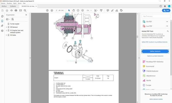 Valtra T144 T154 T174 T194 T214 T234 Hitech -  66AWF and  74AWF engine manual  -  english