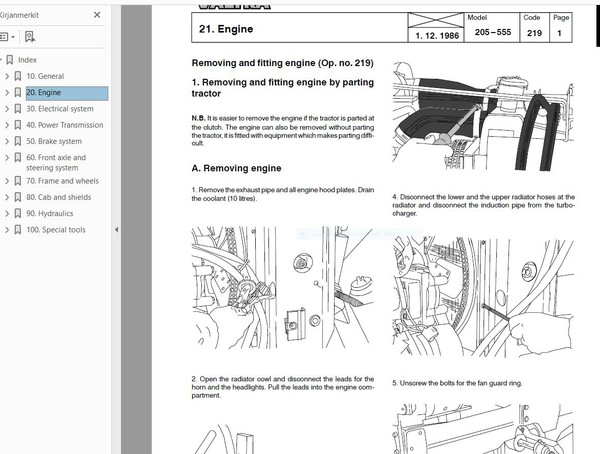 Valtra Valmet  205 - A95  service workshop manual  -  english