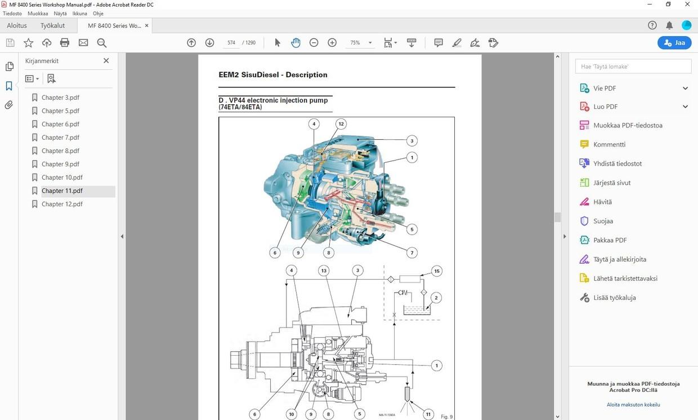 Massey Ferguson 8450 8460 8470 8480  -  service workshop manual  -  english