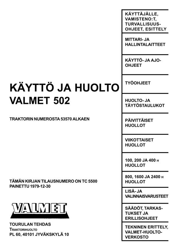 Valmet 502 käyttö- ja huoltokirja