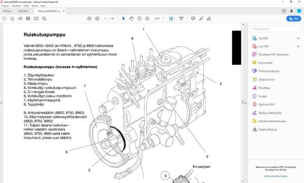 Valtra Valmet - korjaamokäsikirja - moottorit  320 420 620 634 -  142 sivua