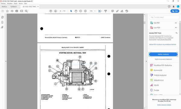 John Deere 1032 1042 1052 1055 combines  -  technical manual  -  TM4413  -  english
