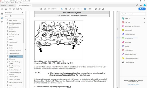 Porsche Cayenne 2003-2009 - service manual - english - 9800 pages