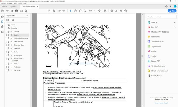 Chevrolet Corvette C7  -  2013 - 2019  service manual  -  english