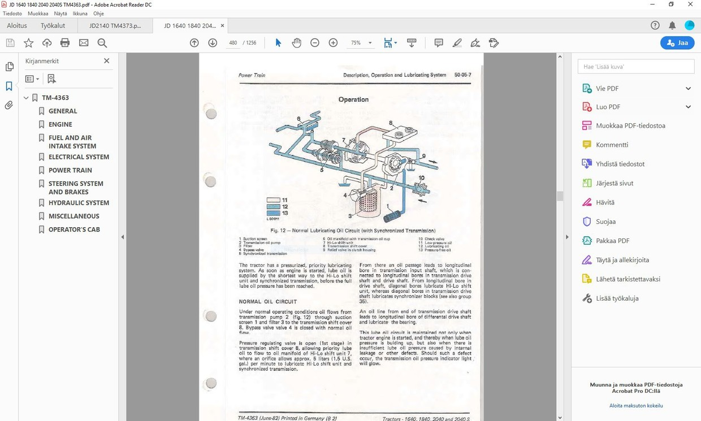 John Deere  1640 1840 2040 2040S -  technical manual  -  TM4363
