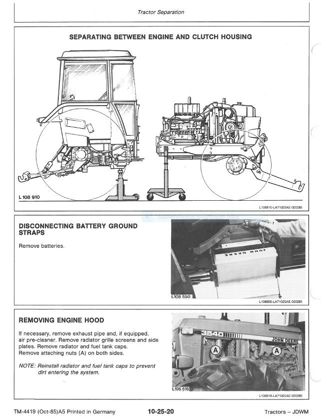 John Deere 3640  technical manual  -  TM4419  -  english