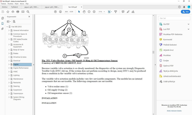 Fiat 500  -  2007-2018  -  service manual  -  english