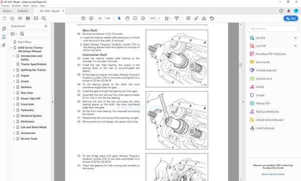 Massey Ferguson 4215 4220 4225 4235 4245 4255 4260 4270  -  service manual  -  english