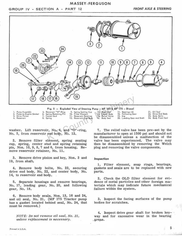Massey Ferguson 165  - verkstadshandbok - korjaamokäsikirja