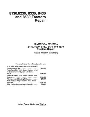 John Deere 8130 8230 8330 8430 8530 - technical repair manual - TM2270 - 1618 pages - english