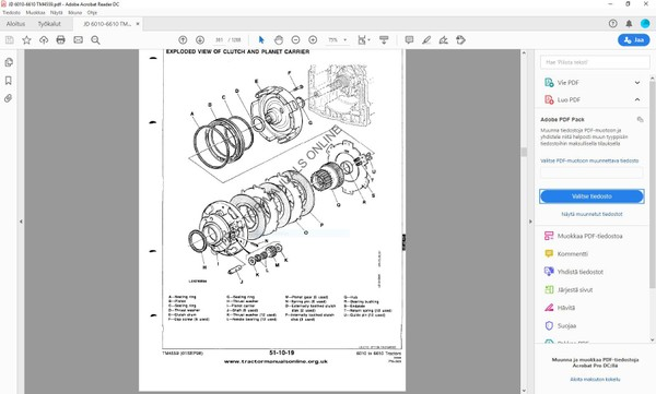 John Deere  6010 6110 6210 6310 6410 6510 6610  technical service manual  -  TM4559  -  english