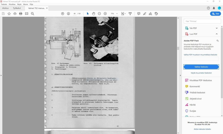 Valmet 702 korjaamokirja  - 196 sivua