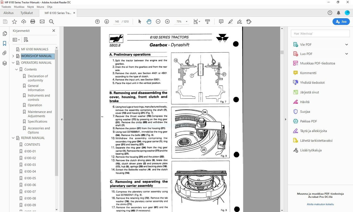 Massey Ferguson 6110 6120 6130 6140 6150 6160 6170 6180 6190 - service manual  -  english