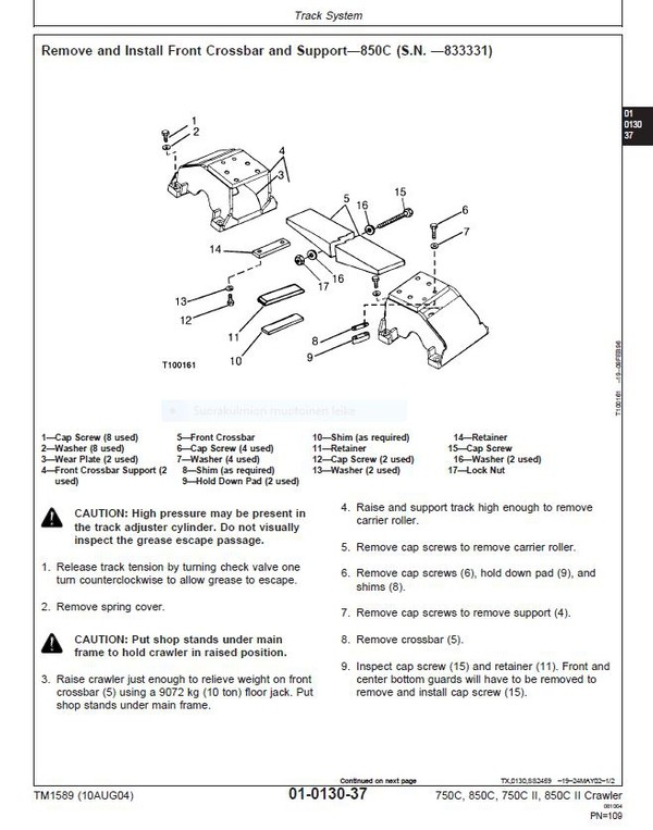 John Deere 750C 850C  crawler dozer  -  technical manual  -  TM1589  -  english