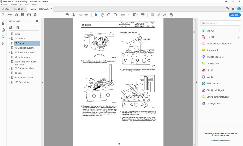 Valtra T121 - T191  service workshop manual - english